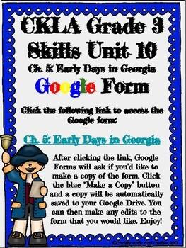 CKLA Grade 3 Unit 10: Colonial America Ch. 5 Google Form