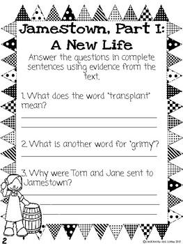 CKLA Grade 3 Unit 10 Colonial America Reading Journal