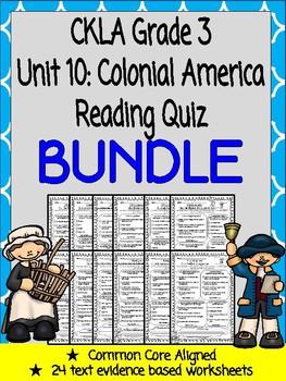 CKLA Grade 3 Unit 10 Colonial America Reading Quiz BUNDLE