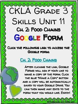 CKLA Grade 3 Unit 11: Ecology Ch. 2 Google Form
