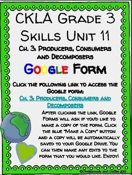 CKLA Grade 3 Unit 11: Ecology Ch. 3 Google Form