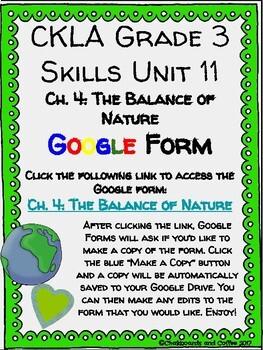 CKLA Grade 3 Unit 11: Ecology Ch. 4 Google Form