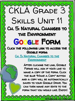 CKLA Grade 3 Unit 11: Ecology Ch. 5 Google Form