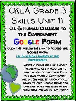 CKLA Grade 3 Unit 11: Ecology Ch. 6 Google Form