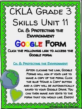 CKLA Grade 3 Unit 11: Ecology Ch. 8 Google Form
