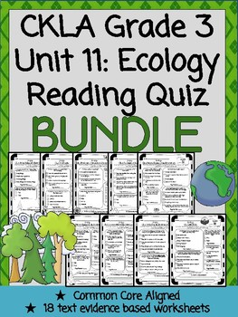 CKLA Grade 3 Unit 11 Ecology Reading Quiz BUNDLE