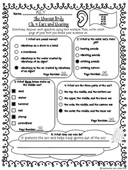 CKLA Grade 3 Unit 3 Ch. 9 Human Body Reading Quiz