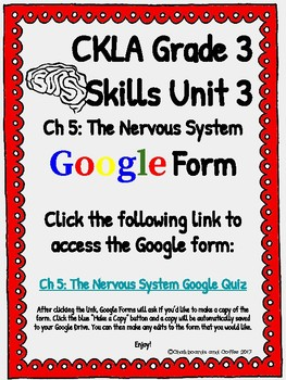 CKLA Grade 3 Unit 3: Human Body Ch. 5 Google Form