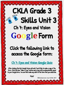 CKLA Grade 3 Unit 3: Human Body Ch. 7 Google Form