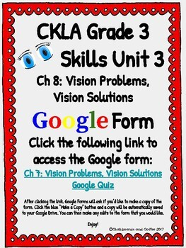 CKLA Grade 3 Unit 3: Human Body Ch. 8 Google Form