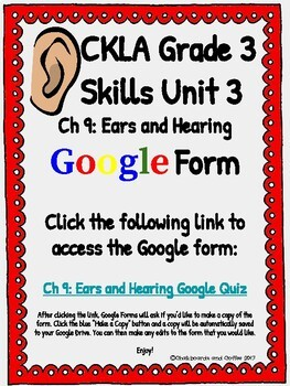 CKLA Grade 3 Unit 3: Human Body Ch. 9 Google Form