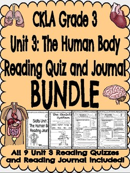 CKLA Grade 3 Unit 3 Human Body Quiz and Journal BUNDLE