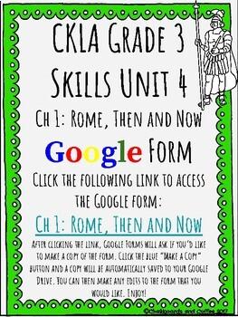 CKLA Grade 3 Unit 4: Ancient Rome Ch. 1 Google Form