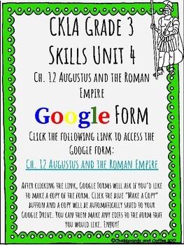 CKLA Grade 3 Unit 4: Ancient Rome Ch. 12 Google Form