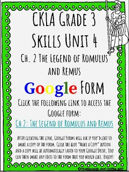 CKLA Grade 3 Unit 4: Ancient Rome Ch. 2 Google Form