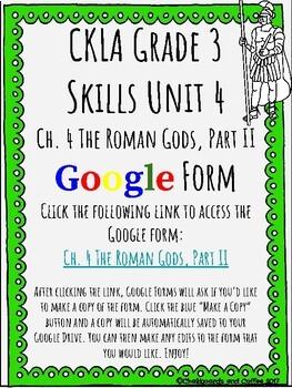 CKLA Grade 3 Unit 4: Ancient Rome Ch. 4 Google Form