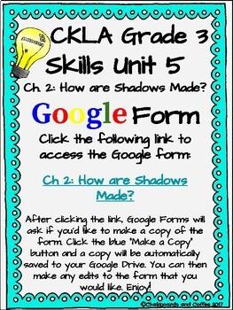 CKLA Grade 3 Unit 5: Light and Sound Ch. 2 Google Form