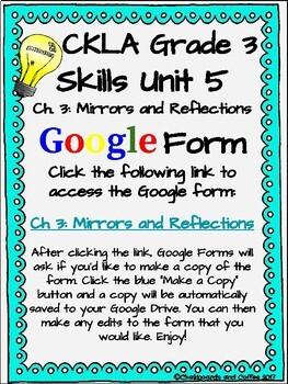CKLA Grade 3 Unit 5: Light and Sound Ch. 3 Google Form