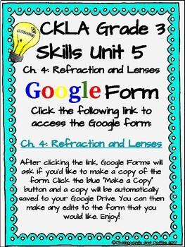 CKLA Grade 3 Unit 5: Light and Sound Ch. 4 Google Form