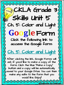 CKLA Grade 3 Unit 5: Light and Sound Ch. 5 Google Form