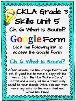 CKLA Grade 3 Unit 5: Light and Sound Ch. 6 Google Form