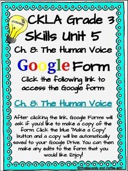 CKLA Grade 3 Unit 5: Light and Sound Ch. 8 Google Form
