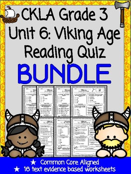 CKLA Grade 3 Unit 6 Viking Age Reading Quiz BUNDLE