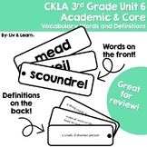 CKLA Grade 3 Unit 6 Vocabulary Words and Definitions