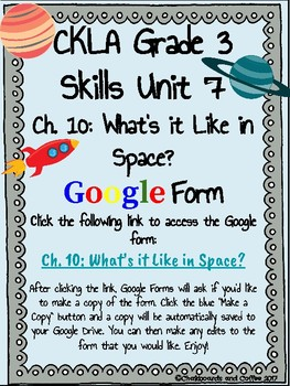 CKLA Grade 3 Unit 7: Astronomy Ch. 10 Google Form