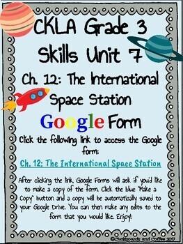 CKLA Grade 3 Unit 7: Astronomy Ch. 12 Google Form