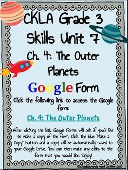 CKLA Grade 3 Unit 7: Astronomy Ch. 4 Google Form