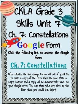 CKLA Grade 3 Unit 7: Astronomy Ch. 7 Google Form