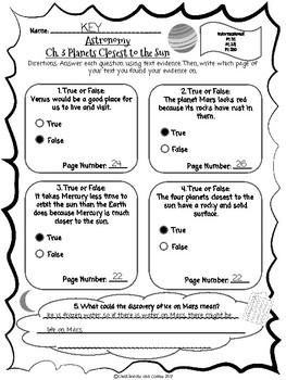 CKLA Grade 3 Unit 7 Ch. 3 Astronomy Reading Quiz