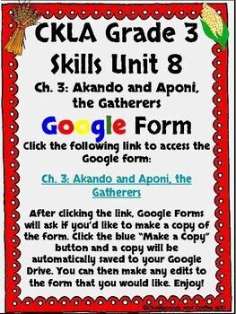 CKLA Grade 3 Unit 8: Native Americans Ch. 3 Google Form