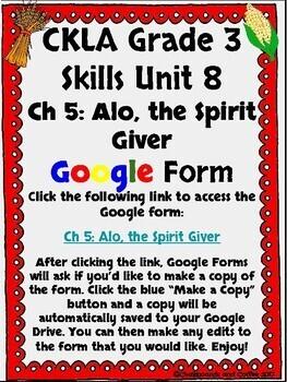 CKLA Grade 3 Unit 8: Native Americans Ch. 5 Google Form