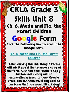 CKLA Grade 3 Unit 8: Native Americans Ch. 6 Google Form