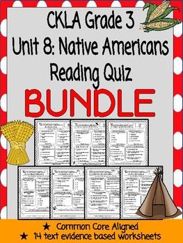 CKLA Grade 3 Unit 8 Native Americans Reading Quiz BUNDLE