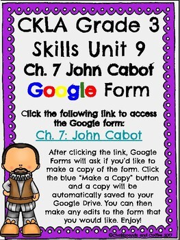 CKLA Grade 3 Unit 9: European Explorers Ch. 7 Google Form