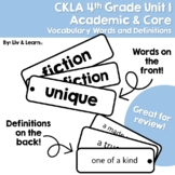 CKLA Grade 4 Unit 1 Vocabulary Words and Definitions