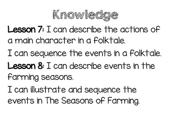 CKLA I Can Statements Kindergarten Knowledge domain 5