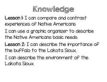 CKLA I Can Statements Kindergarten Knowledge domain 6