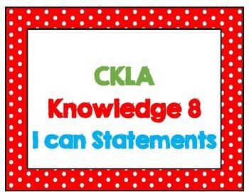 CKLA I Can Statements Kindergarten Knowledge domain 8