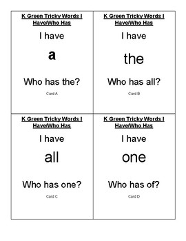 CKLA I Have/Who Has Tricky words K