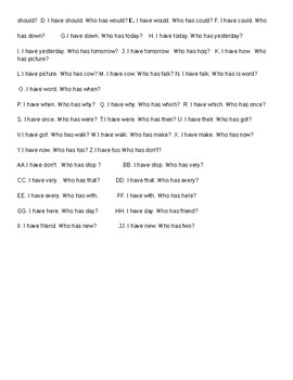 CKLA I Have/ Who Has grade 1 Tricky Words set a