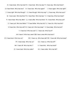 CKLA I Have/ Who Has grade 1 Tricky Words set c