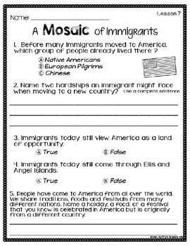 CKLA Immigration  ~Second Grade (Engage NY/Core Knowledge Domain 11)