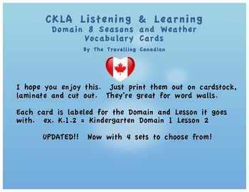 CKLA Kindergarten Domain 8 Vocabulary Cards