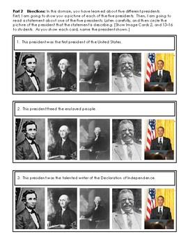 CKLA Kindergarten Knowledge Domain 12 Presidents and American Symbols Assessment