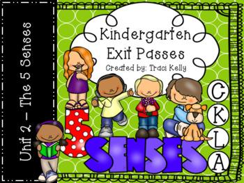 CKLA Kindergarten Knowledge Unit 2 The Five Senses Exit Passes