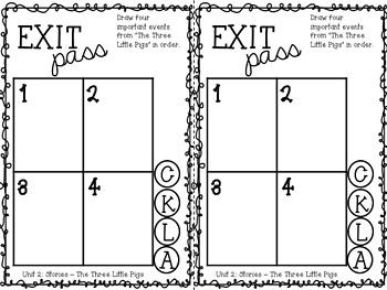 CKLA Kindergarten Knowledge Unit 3 Stories Exit Passes